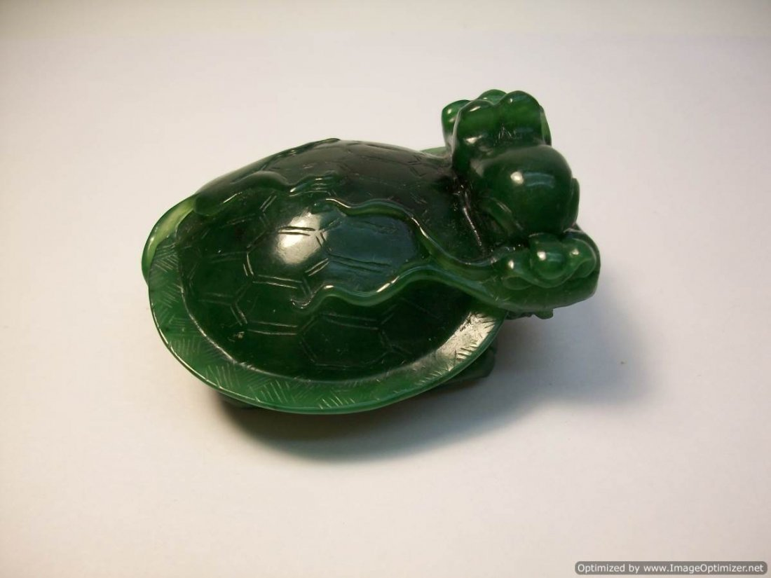 GREEN JADE WITH TURTLE AND DRAGON HEAD