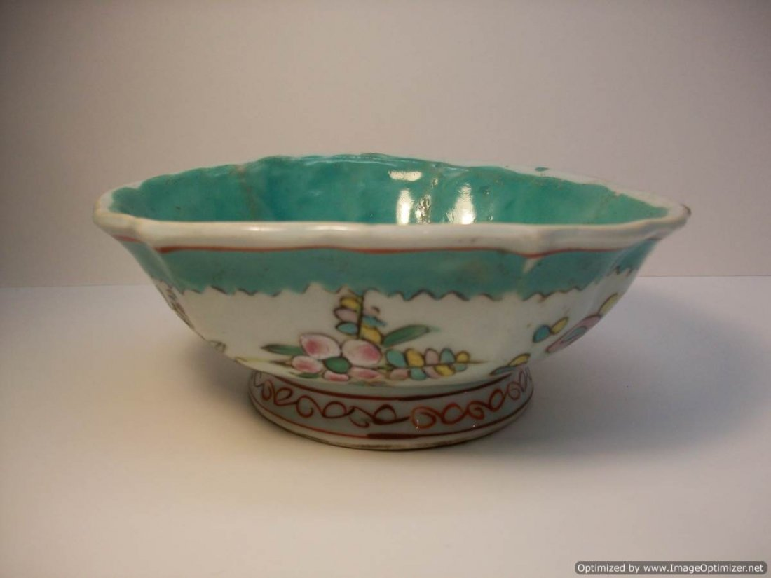 CHINESE FAMILLE ROSE TURQUOISE BOWL