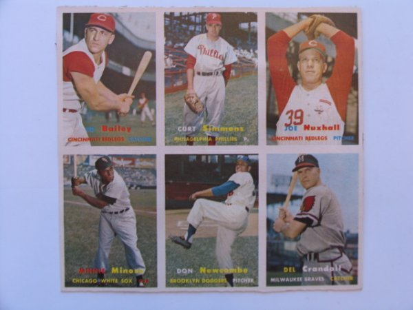 1001: Uncut Sheet of 1957 Topps Cards
