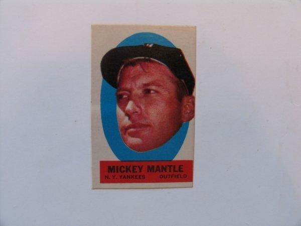 1017: Mickey Mantle, Yankees 1963 Topps Peel-Off Insert