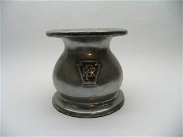 2376: PRR Cast Spittoon/Embossed Keystone PRR