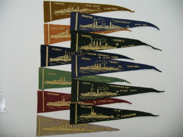 22: Battle Ships BF-13 Felt Pennants c. 1910