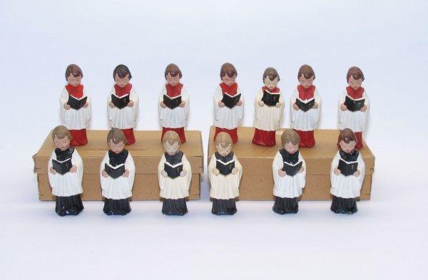 1006: (13) Paper Mache Christmas Choir Boys