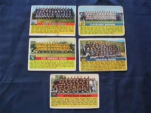 (5) 1956 Topps Football Team Cards