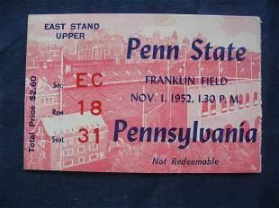 PSU vs. Pennsylvania Football Ticket 1952
