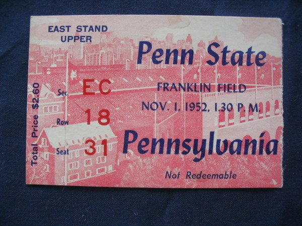 6: PSU vs. Pennsylvania Football Ticket 1952
