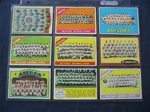 Lot of (9) Vintage Baseball TEAM CARDS