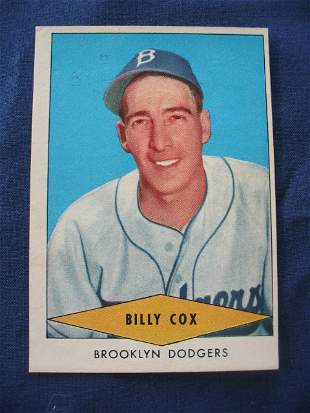 Billy Cox 1954 Red Heart Dog Food Baseball Card