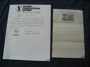 Knute Rockne Hand Drawn Play Hotel Letterhead