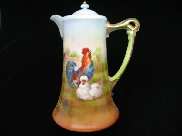 2214: Royal Bayreuth Rooster & Hen Chocolate Pot