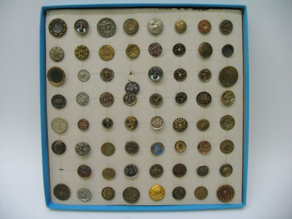 4009: 63 Small Assorted Buttons, Metal, Some Pictorial