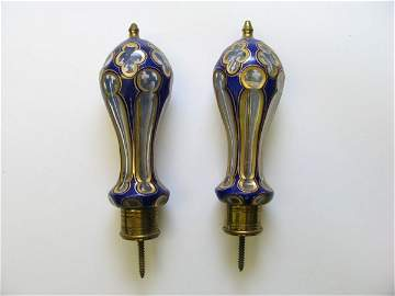 4113: Pair of Victorian Art Glass Curtain Tieback