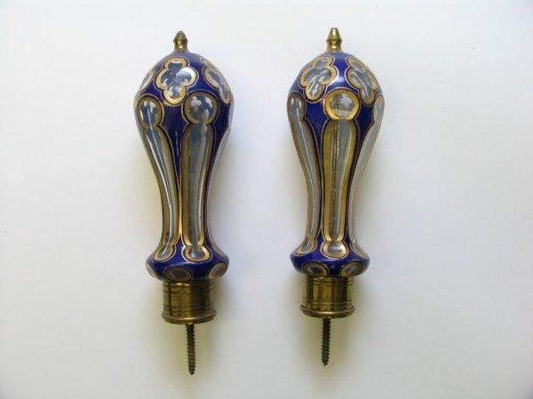 4113: Pair of Victorian Art Glass Curtain Tieback