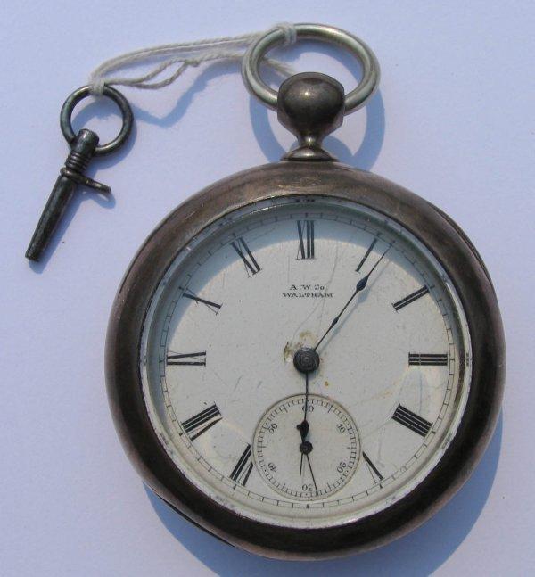 2: A.W. Co Waltham Key Wind Pocket Watch