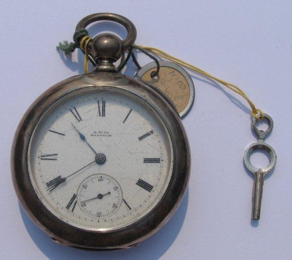 3: A.W. Co Waltham Key Wind Pocket Watch