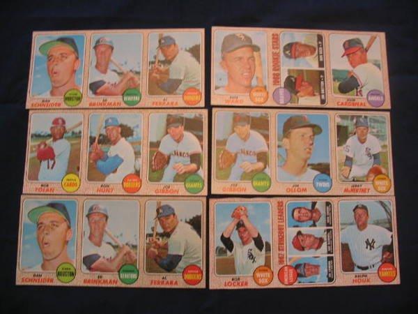 1015: (6) 1968 Topps Uncut Baseball Card Strips