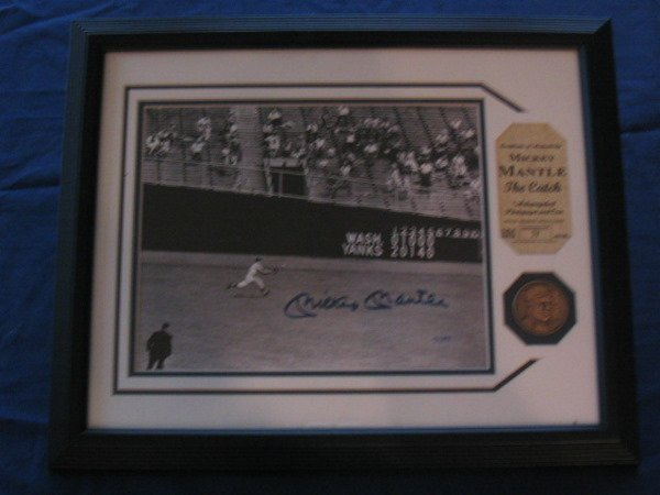 """1023: Mickey Mantle """"The Catch""""  Autographed Piece"""