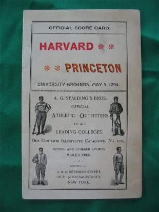 Harvard vs. Princeton Baseball Score Card 1894