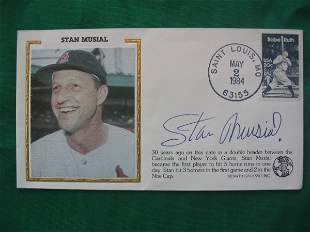 Stan Musial Autographed 1984 Envelope Babe Ruth Stam
