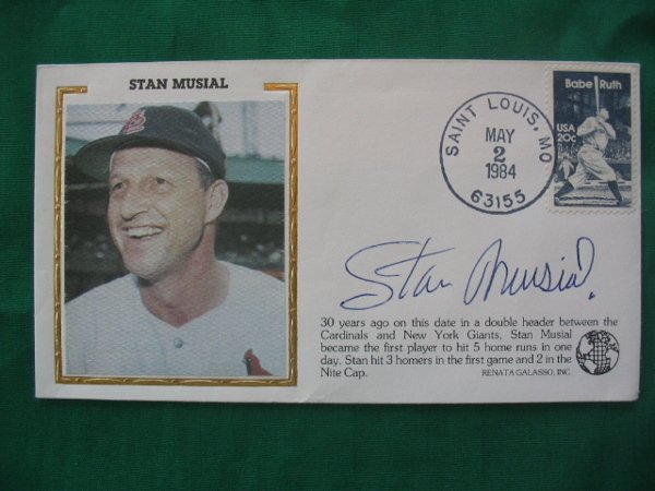 5: Stan Musial Autographed 1984 Envelope Babe Ruth Stam