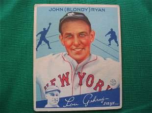 "John ""Blondy"" Ryan 1934 Goudey Gum Baseball Card"