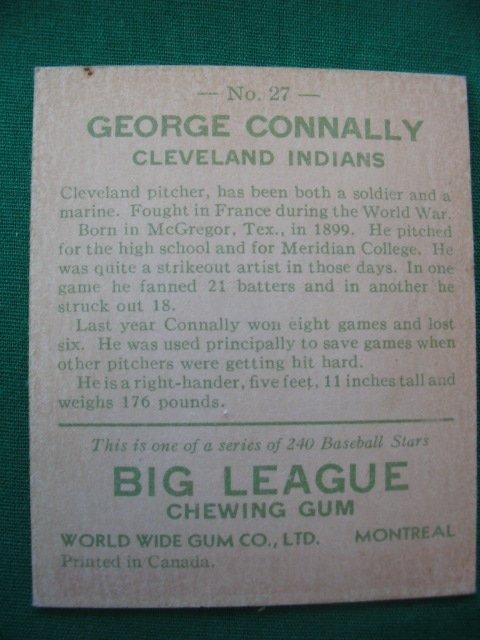 20: George Connally 1933 Goudey Baseball Card - 2