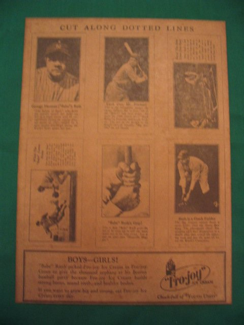 239: Fro-Joy Ice Cream Babe Ruth Cards Uncut Sheet