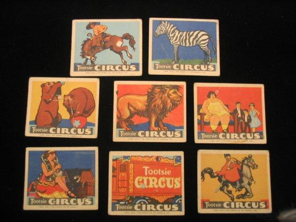 4002: (8) 1933 Tootsie Circus Cards, Tootsie Rolls