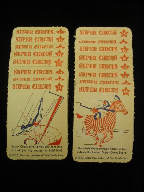 4003: (16) 1952 Mars Candy Super Circus Cards