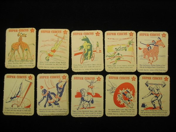 4004: (10) 1952 Mars Candy Super Circus Cards