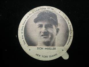 Don Mueller Dixie Cup Lid, NY Giants
