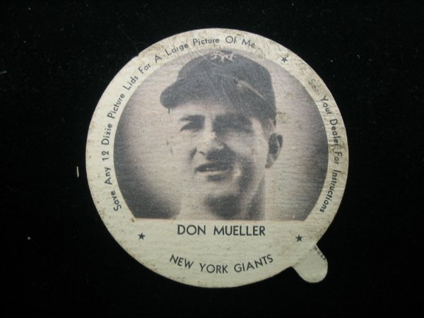 4013: Don Mueller Dixie Cup Lid, NY Giants