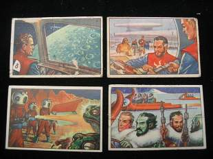 (4) Bowman Gum Spacemen Trading Cards