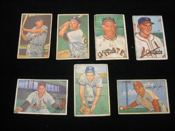 4022: (7) 1951 & 1952 Bowman Baseball Cards