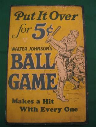 Walter Johnson Ball Game Candy Box c. 1920