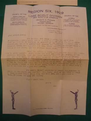 "1929 ""Boy Scouts of America"" Baseball Letter"