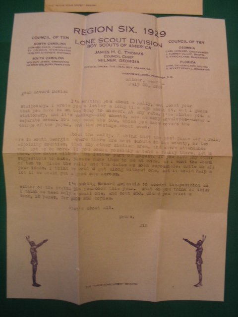 "1002: 1929 ""Boy Scouts of America"" Baseball Letter"