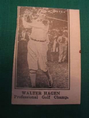 """Walter Hagen Scarce """"W"""" Card c. 1920's"""