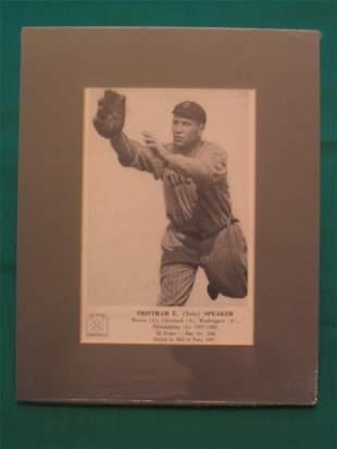 Tris Speaker Hall of Fame, Vintage Matted Card