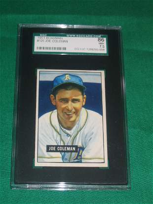 Joe Coleman 1951 Bowman Graded Baseball Card
