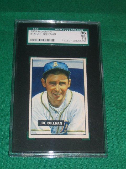 1008: Joe Coleman 1951 Bowman Graded Baseball Card