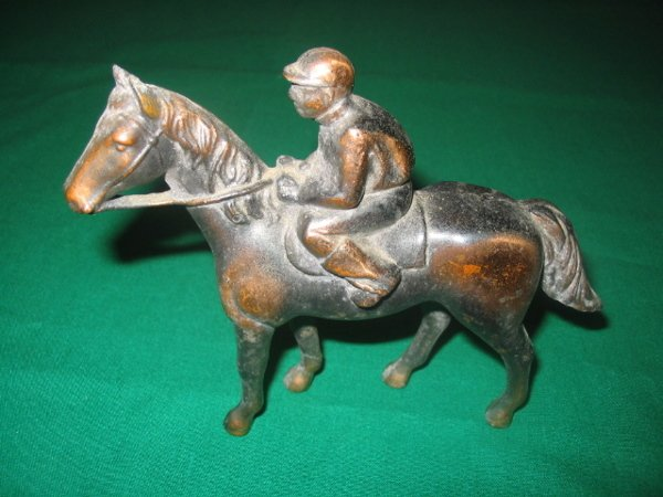 1012: Cast Iron Horse & Jockey Piece c. 1920's
