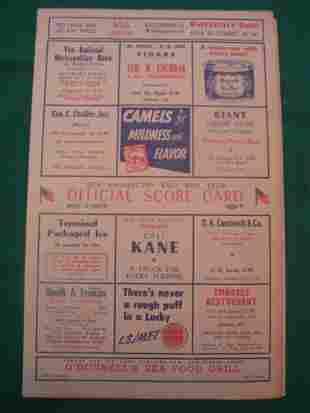 Washington Senators 1950 Game Scorecard