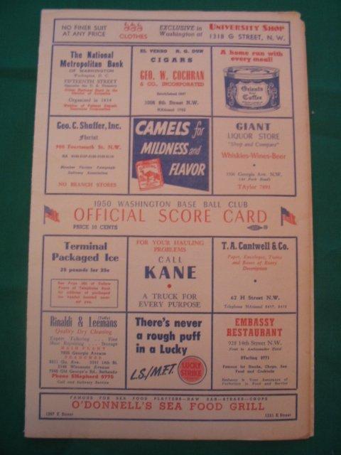 1018: Washington Senators 1950 Game Scorecard