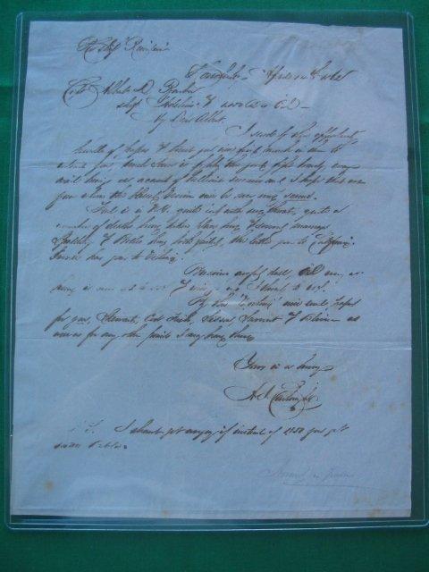1301: Alexander Cartwright Hand Written Letter 1860