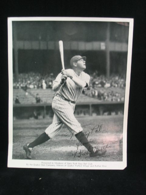 1511: Babe Ruth Autographed Photo, Quaker Oats
