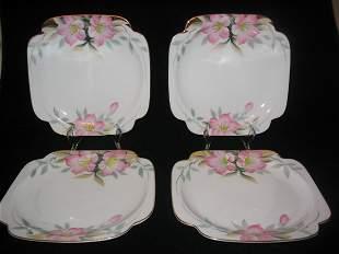 (4) Noritake Azalea Square Plates 7 5/8'' Diam