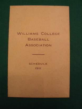 Williams College Baseball Schedule 1911 Season