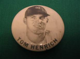 Original Tommy Henrich Baseball Pin c. 1948