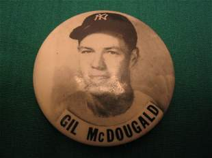 Original Gil McDougald Yankees Baseball Pin c. 1952